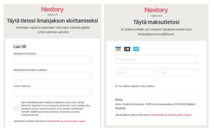 Nexstory tilauksen vaiheet