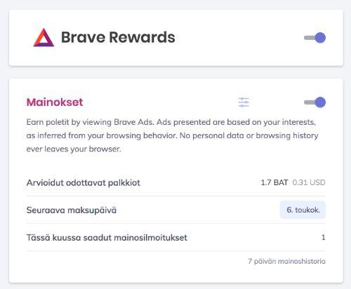 Brave Rewards Palkkiot